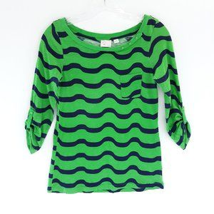 Anthro XS Postmark Striped T-Shirt Top Green Blue